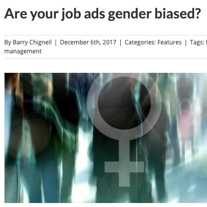 Read:    Are your job ads gender biased?    CIPHR