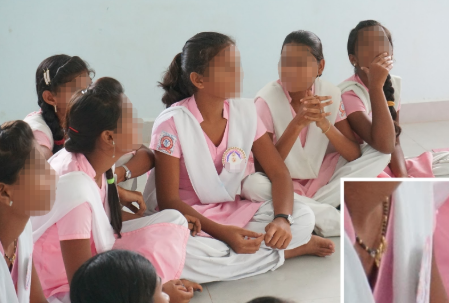 Image: Female students participating in a Ashta No Kai project; one wearing a mangalsutra. Photo credit: Maxine Cleminson, 2017.