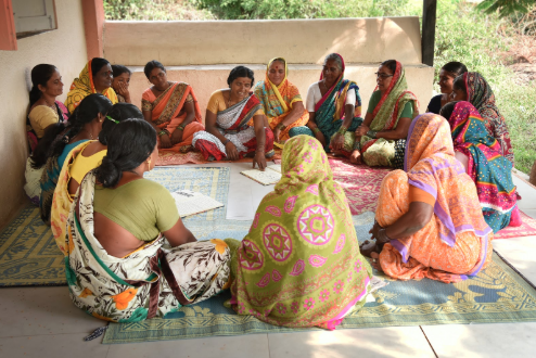 Image: Ashta No Kai help women in rural villages near Pune set up and organise self-help groups; here the women attend a meeting. Photo credit: Antoinette Louw, 2018.