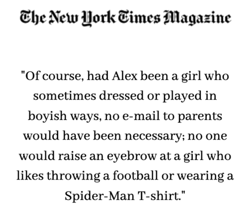 New York Times Magazine:    What's so bad about a boy who wants to wear a dress?