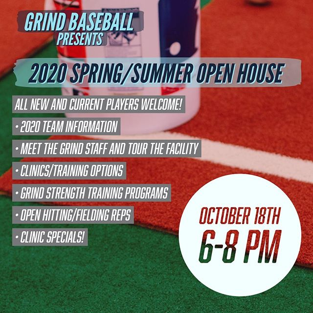 SAVE THE DATE: Our first ever Open House is in three weeks! All current and new players+parents are welcome to join!  We will be addressing: -Spring/summer tryouts and teams -Our clinics/training/lessons -Meet our coaches -@grind_strength training programs and much more! This is an awesome opportunity to come tour the Grind facility and see what we are all about! #grindbaseball #grindstrength #travelbaseball #team #championships