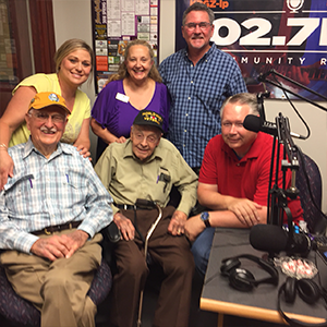 Our Kearney Live broadcast featuring Honor Flight volunteers and veterans: Front row: Paul Laughlin, veteran; John Campbell, veteran; Jim Dickerson, host. Back Row: Tara Freeman, HF volunteer; Erin Winstead, HF volunteer; Mike Davis, host.