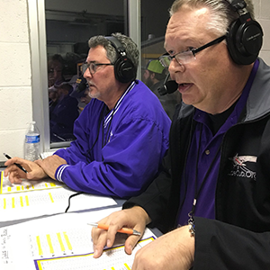 Mike and Jim in the booth at Bulldog Field.