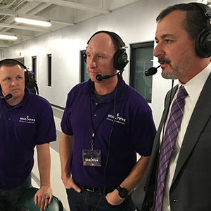 Dan and Andy with Dr. Bill Nicely in a pre-game interview.
