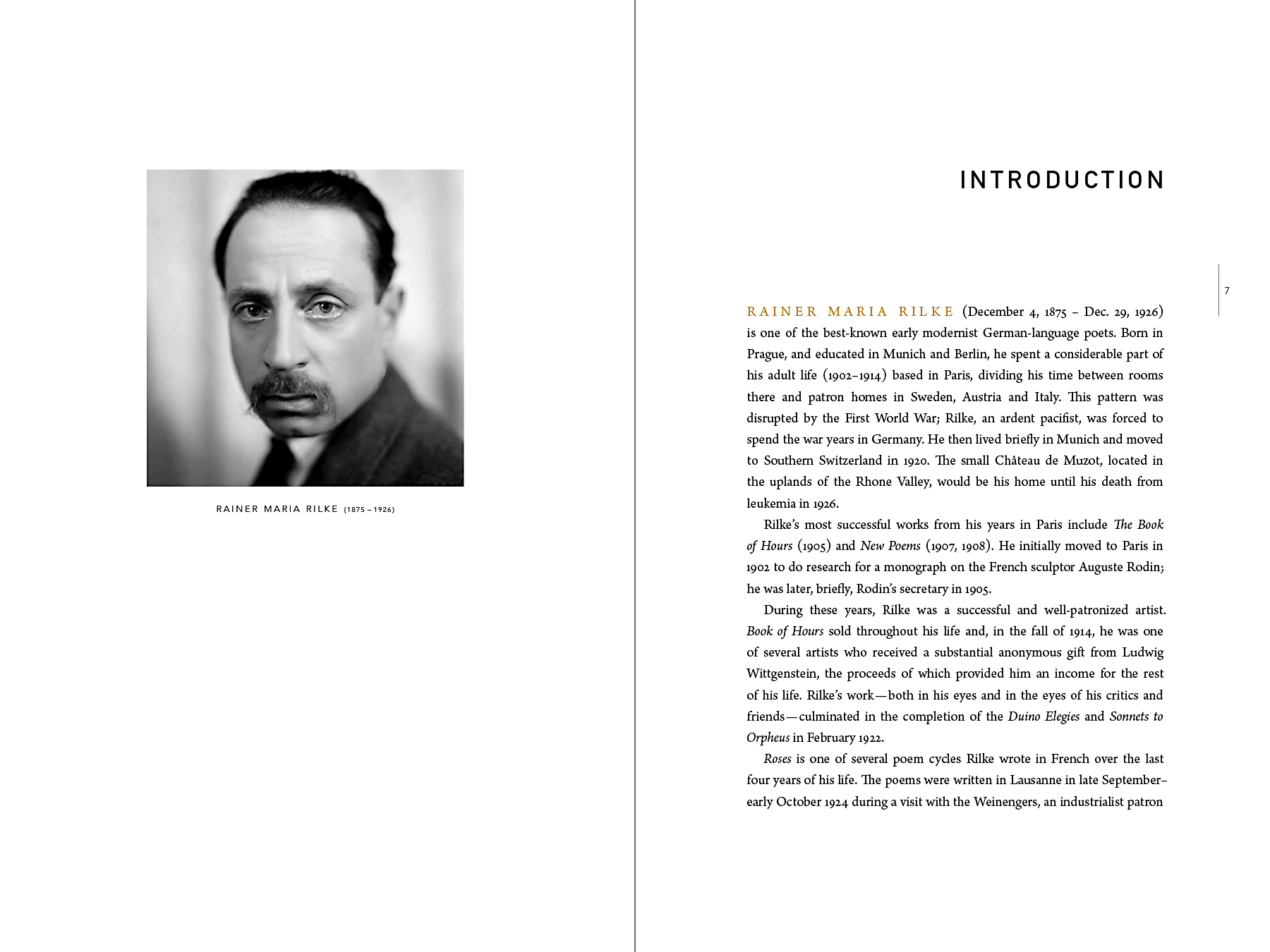 Introduction spread. Rilke looks at us from another century as we read about him.