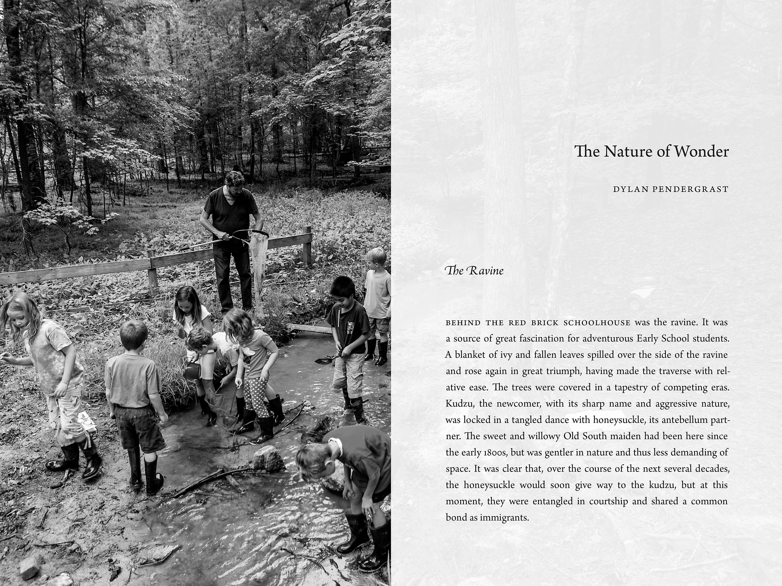 Chapter opening for a book on the history of the Carolina Friends School.