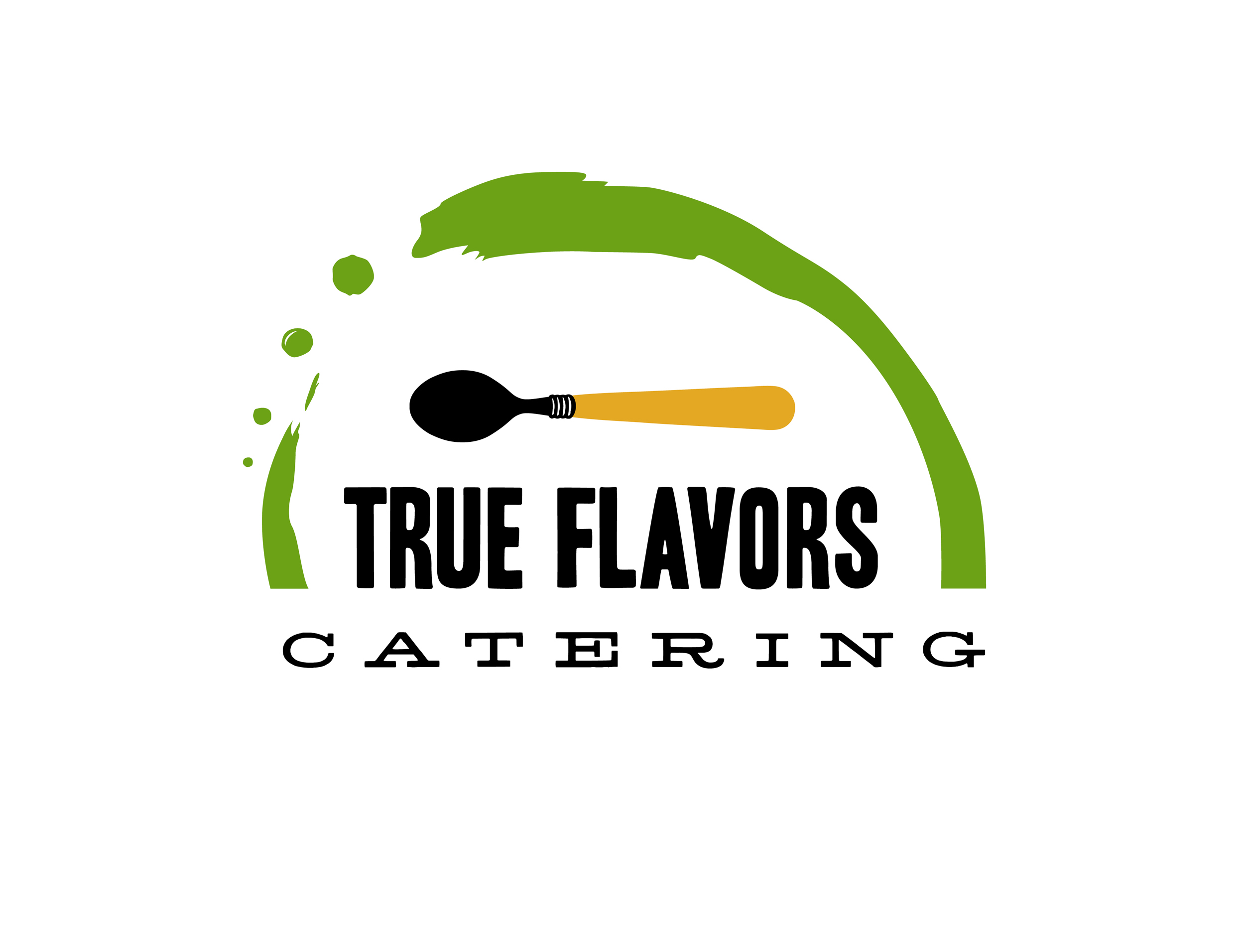 Restauranters wanted a logo for the catering company that utilized same color scheme as the diner logo.