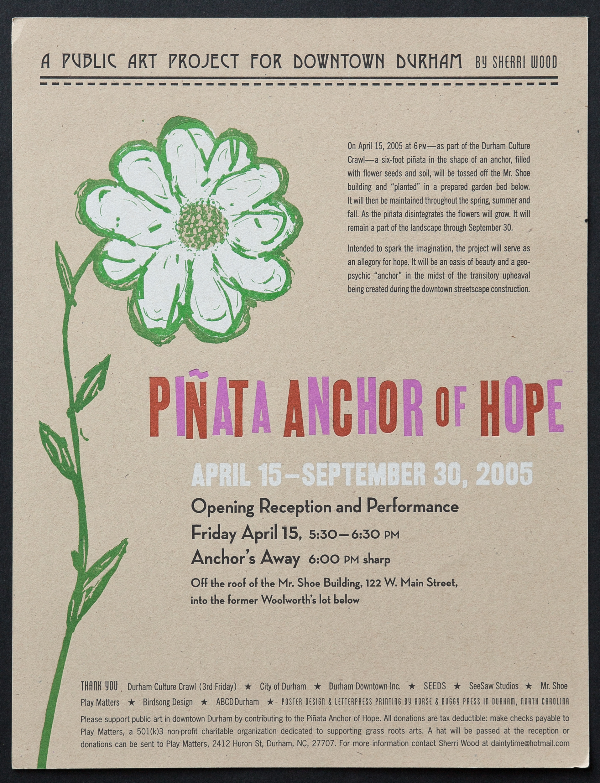 Letterpress printed poster for Sherri Wood's art installation. Mix of hand-set wood type and digitally produced type.