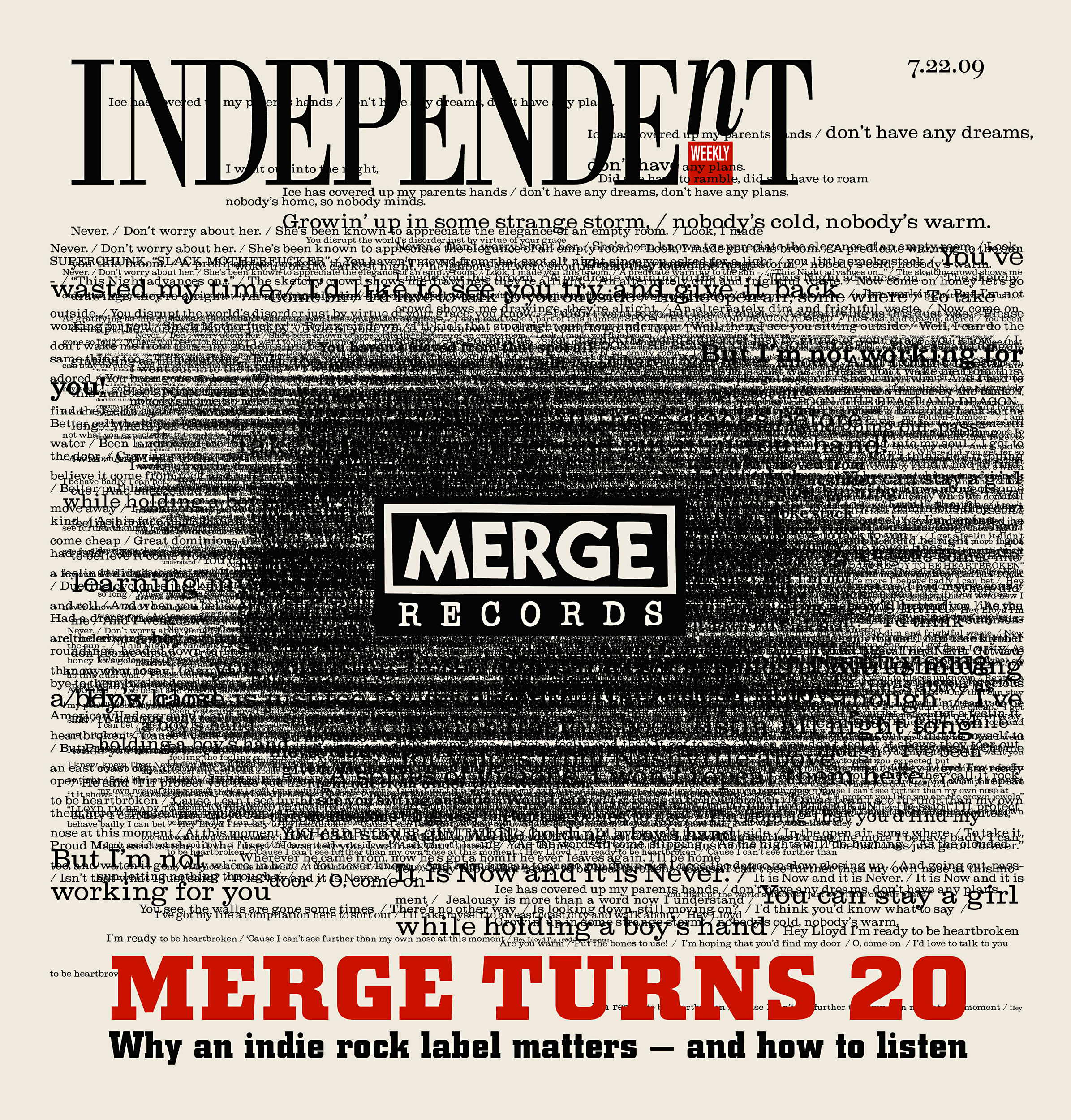 Cover for newsweekly featured a magnetic field of lyrics from various songs that Merge recording artists have released over the years.