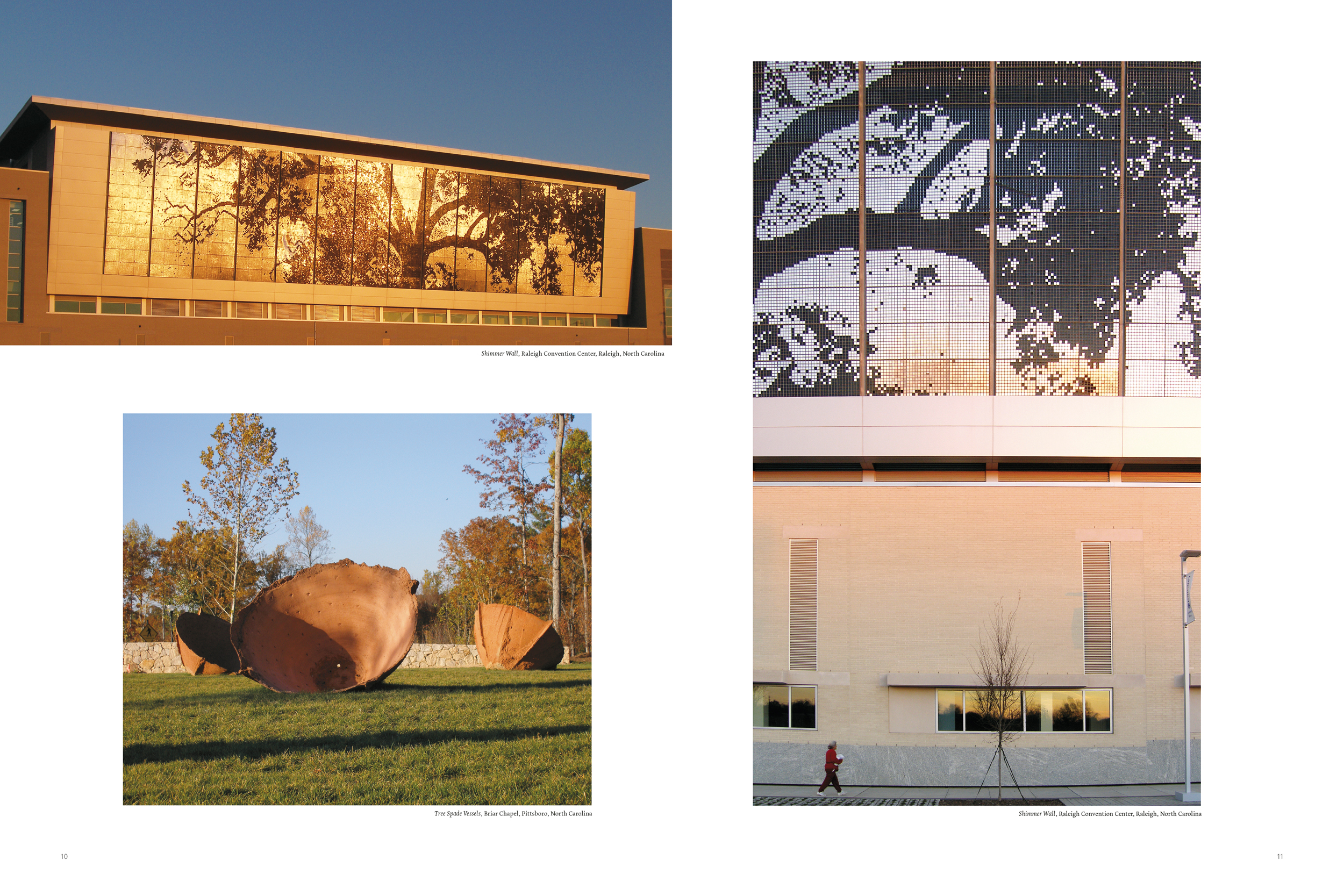 Spread from the section of photographs from site-specific installations across North Carolina.