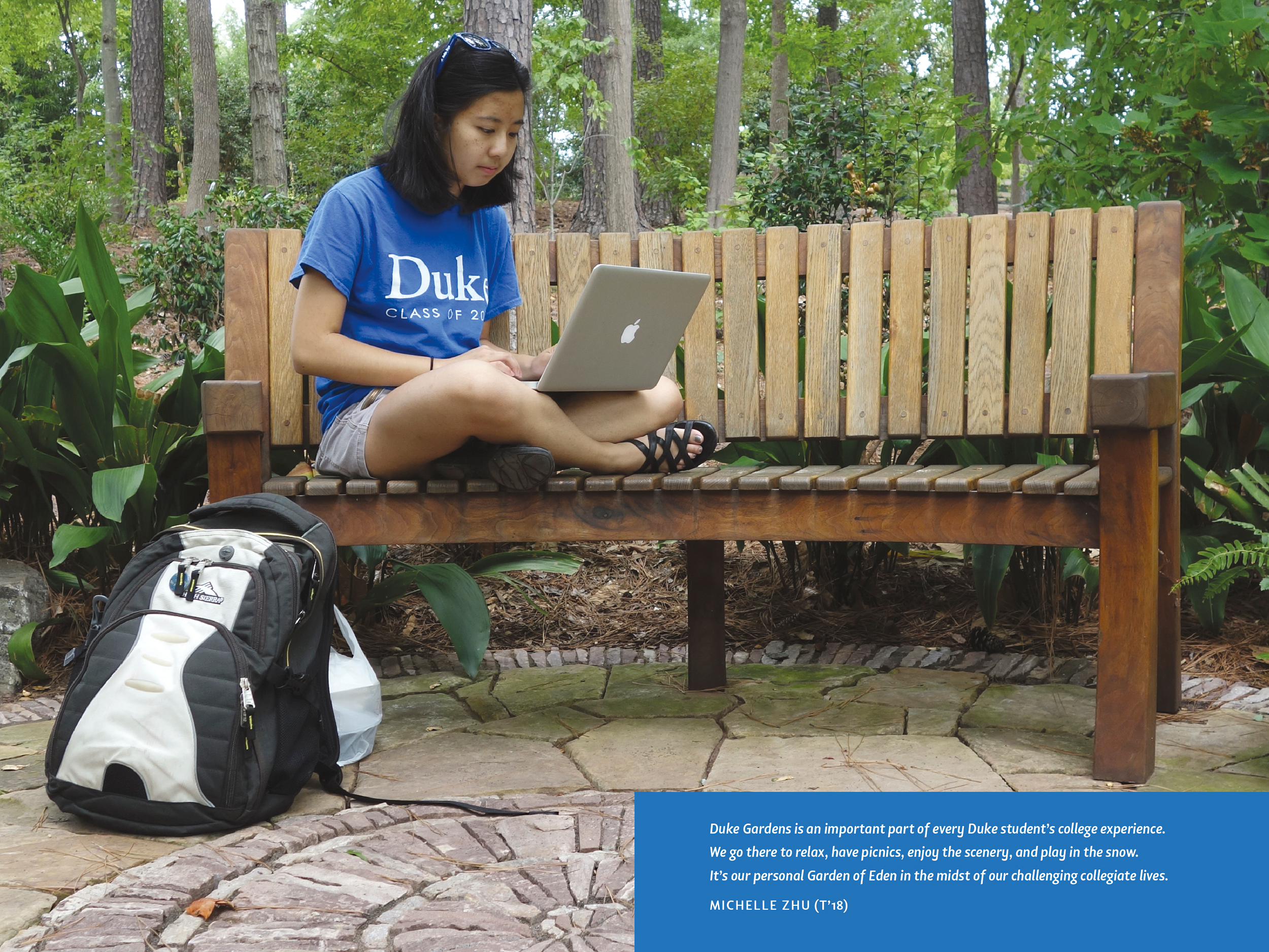 Several spreads feature text from students using the gardens as a study center.