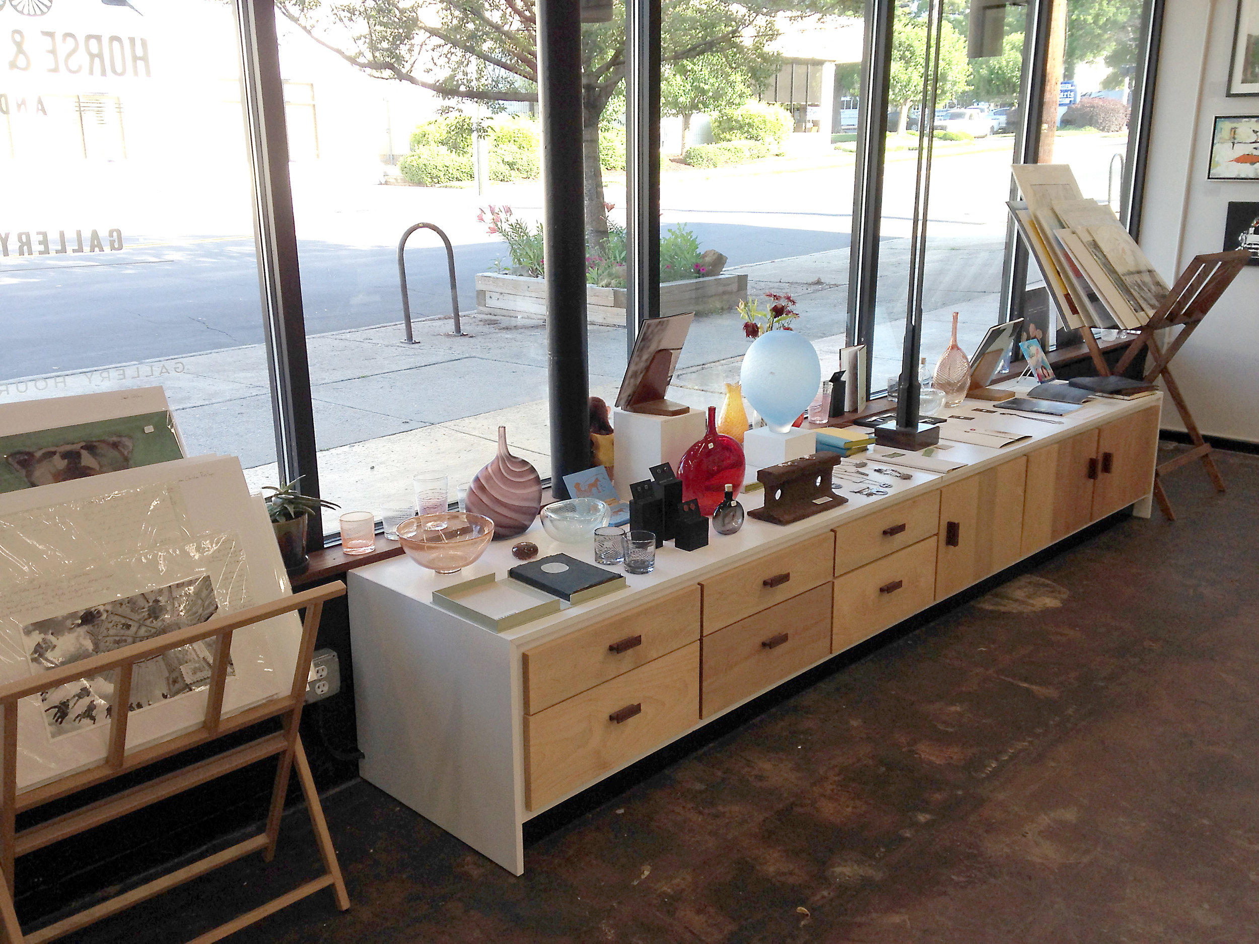 Marc Smith made much of our exhibit infrastructure including this display bench . . .