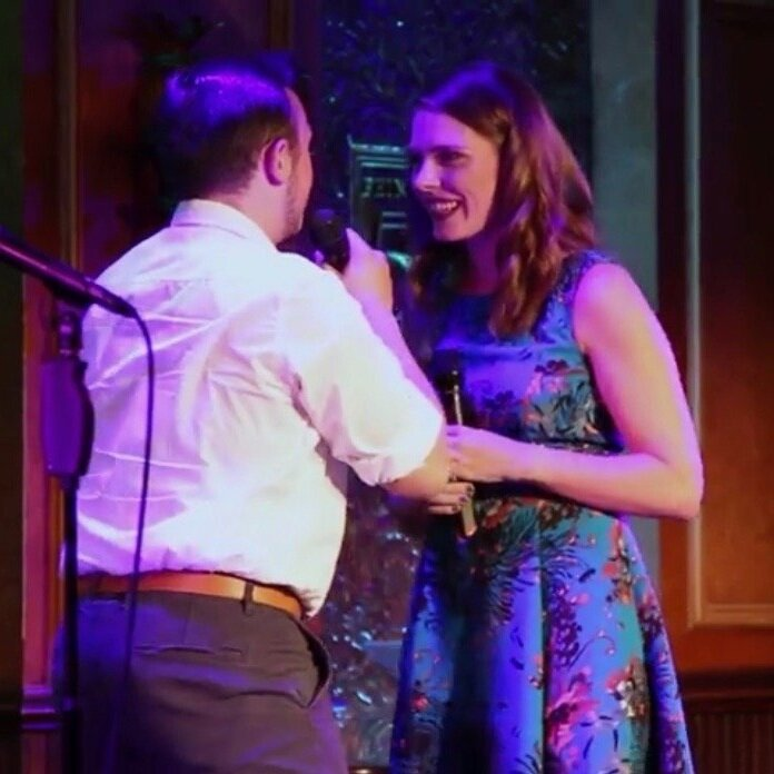 "Lucien Coppola and Jacqueline Keeley singing ""Staten Island Ferry"" at Feinstein's 54/Below in 2018."