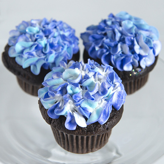 Hydrangea - Buttercream hydrangea flowers on the top of each cupcake: $4.00 each, minimum of one dozen per flavor and design.