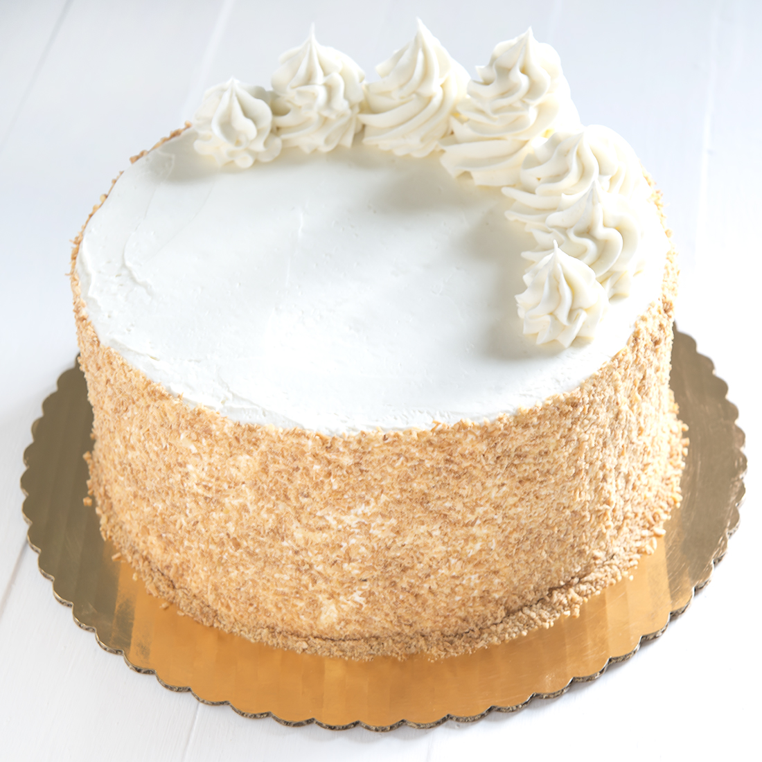 Toasted Almond - Almond cake filled and frosted with almond buttercream, buttercrunch6