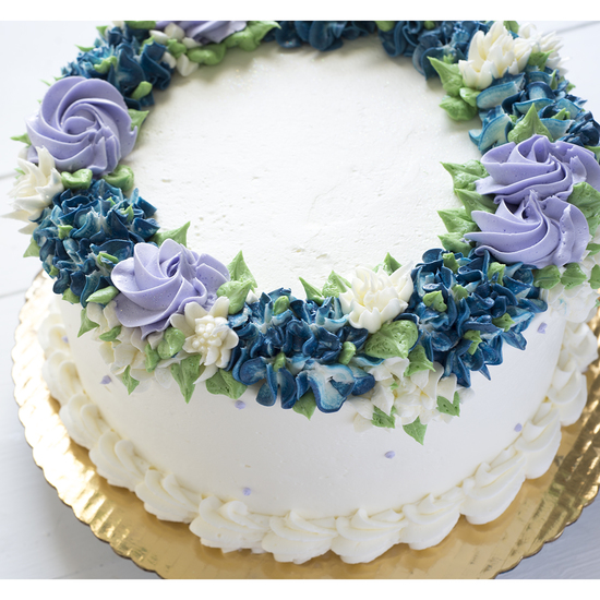 "Floral Border Option 1 - Buttercream hydrangea, rosette, and accent flowers. Your choice of three colors6""-$55, 9""-$95, 10""-$130, 12""-$180, Small Sheet-$205, Large sheet-$230"