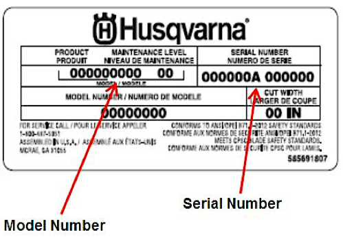 Model & Serial Numbers - Need to know how to find your model & serial number for your Husqvarna products?