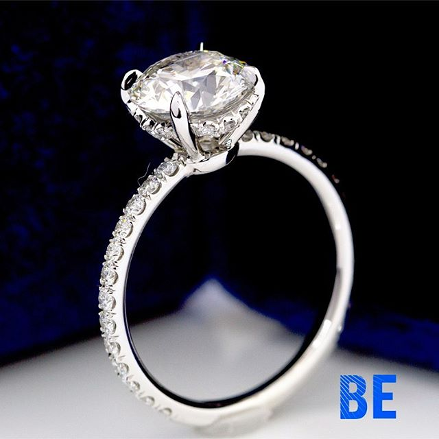 Round Brilliant Diamond Solitaire with Micro Pave Diamonds along the Basket and 3/4 of the Circlet Fabricated in our NYC Studio....! #custommadejewelry #shesaidyes #sayyes #luxuryring #design #marrymerings #bespokejewelry #instaring #ringsofinstagram #gemology #platinum #privatejeweler #dreamscometrue #sparkle #cupid #glamour #happiness #engaged #thatsdarling #romance #loveher #truelove #style #classic