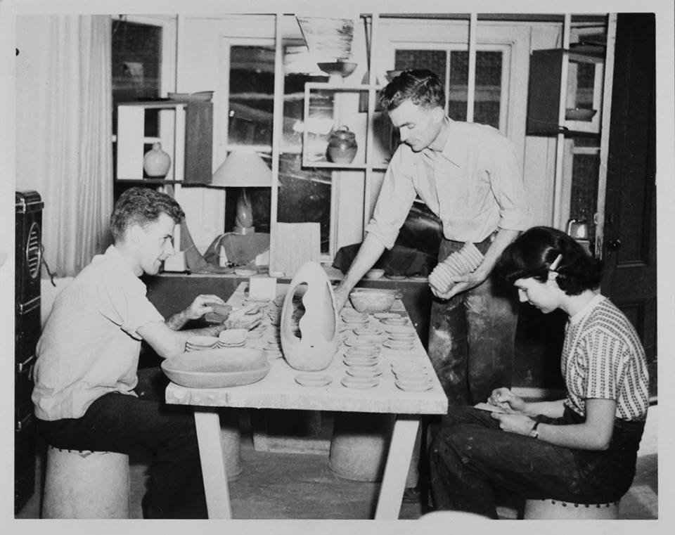 Oliver Greene (center) and other RISD students crafting Peter Pots pottery in the Meeting Street studio in 1948. Early partner Mary Ryan is at right.