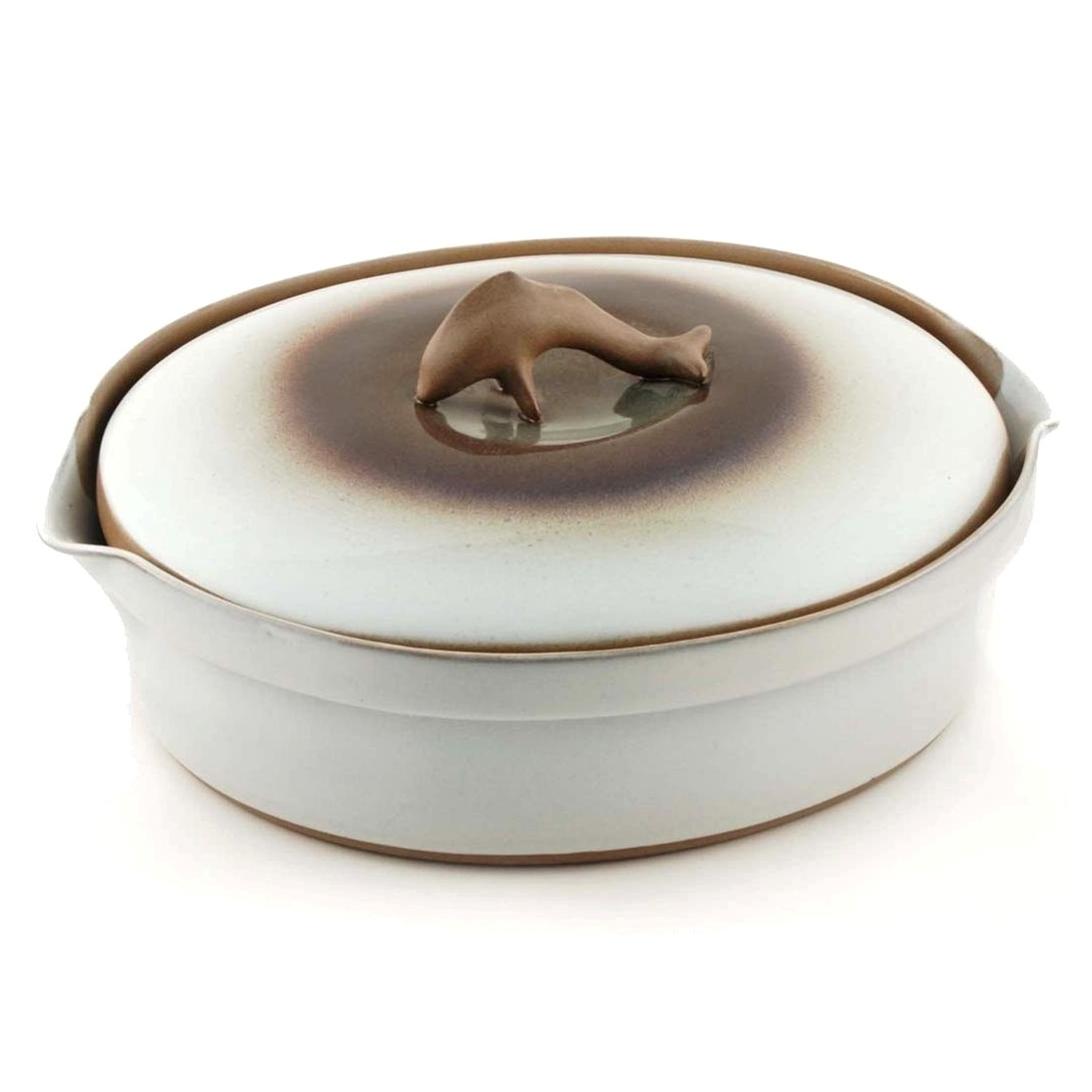Where's the Dolphin Finial? - Many of our customers will remember this iconic casserole lid. While we've gone back to the classic-style lid as the default for our Two-Quart Casserole Dish, you can still have the Dolphin-Style lid by request! Simply leave a comment in your order, and we'll be sure to send you the Dolphin-Style lid in the color you choose.