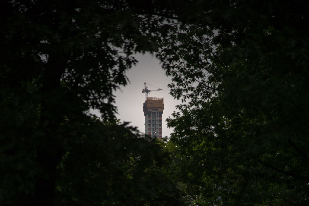 NEW YORK, NY - JUNE 23, 2018: A view of the growing 111 West 57th building from Central Park. © 2018 Emon Hassan