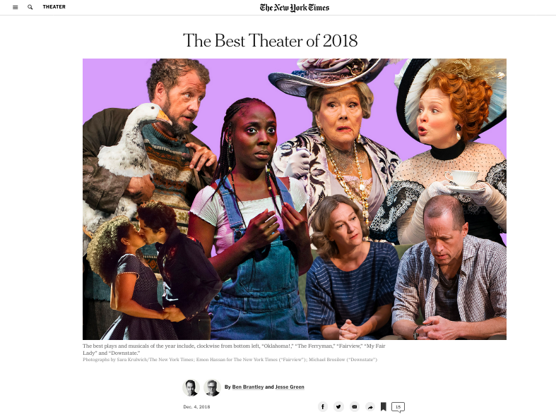 "My picture of MaYaa Boateng of ""Fairview"" (center) in the collage for NY TImes's "" Best of Theater "" piece.  This is the original review ."