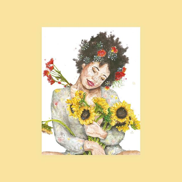 , 🌻🌼 Flowerchild, 2017 #watercolour and #acrylic  Prints are coming, what sizes are you wishing for?