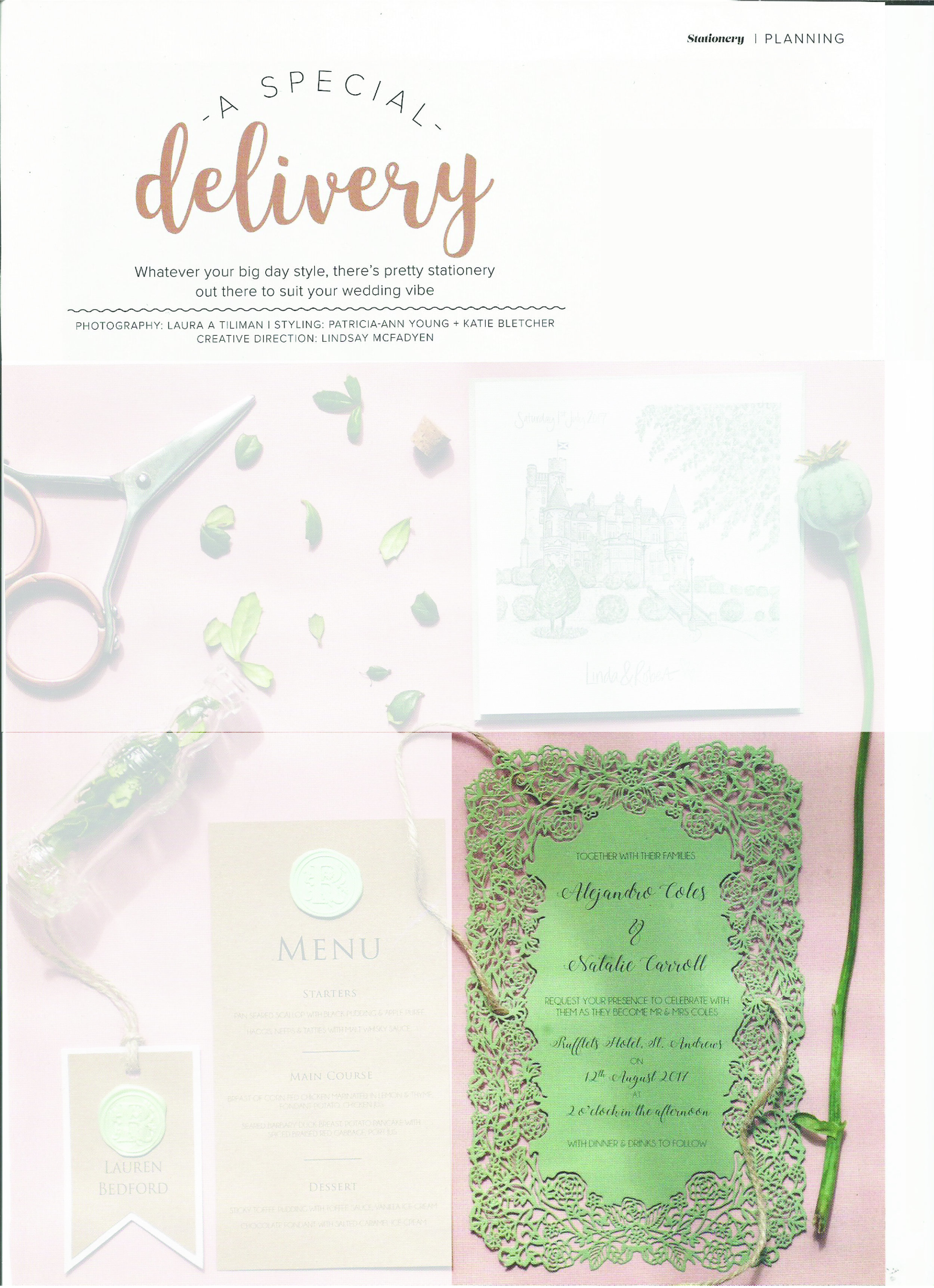 Scottish Wedding Directory - Our 'Shan' design has been a firm favorite for a while now. It's delicate design means that you don't have to go OTT to wow your guests with extra embellishments. ,Can be found in autum 17' issue, page 249