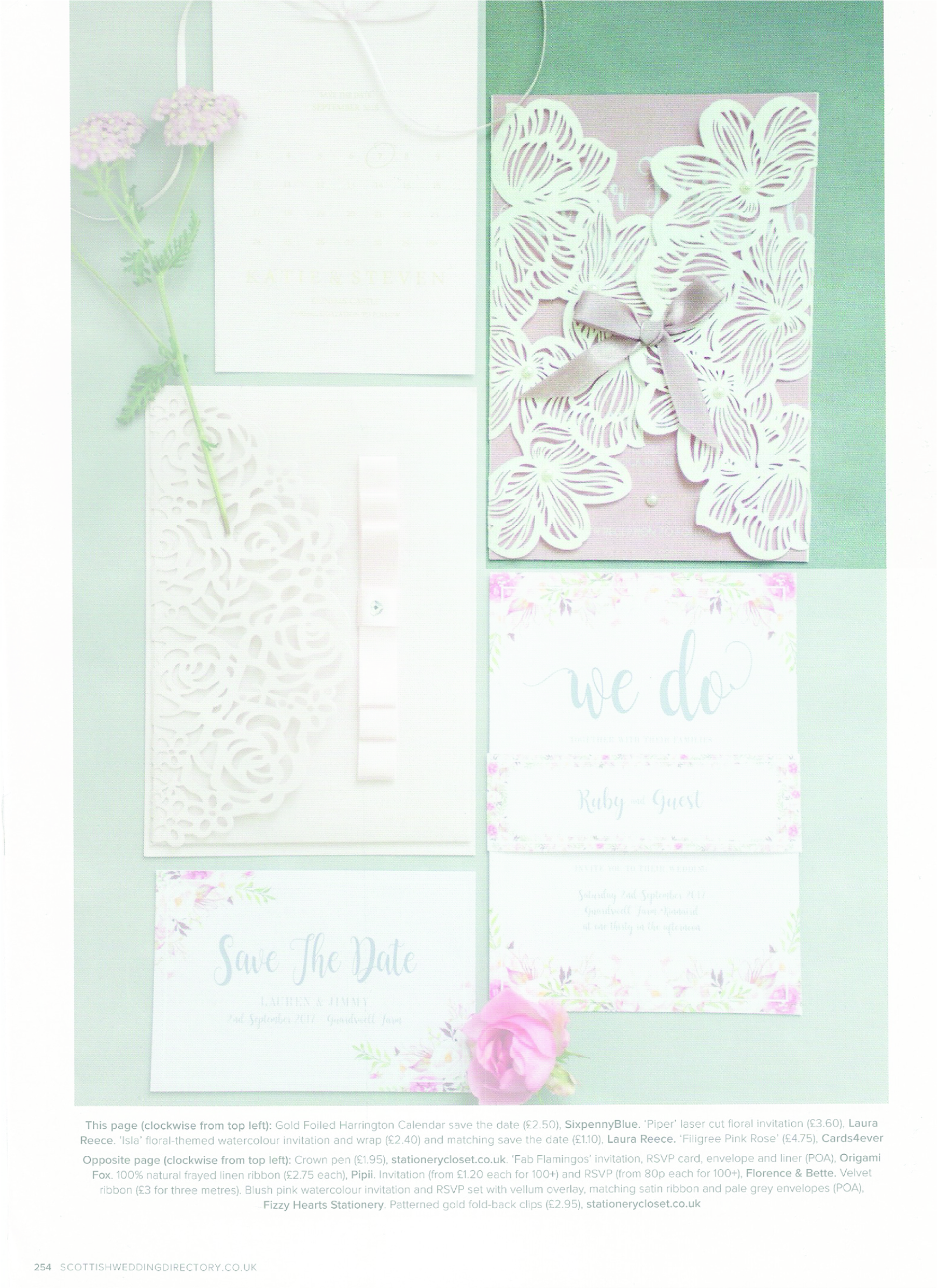 Scottish Wedding Directory - Laser cut wedding stationery is so loved by our couples! This delicate piece was featured in the magazine for the ' A special delivery' feature.Can be found in autumn 17' issue, page 254.
