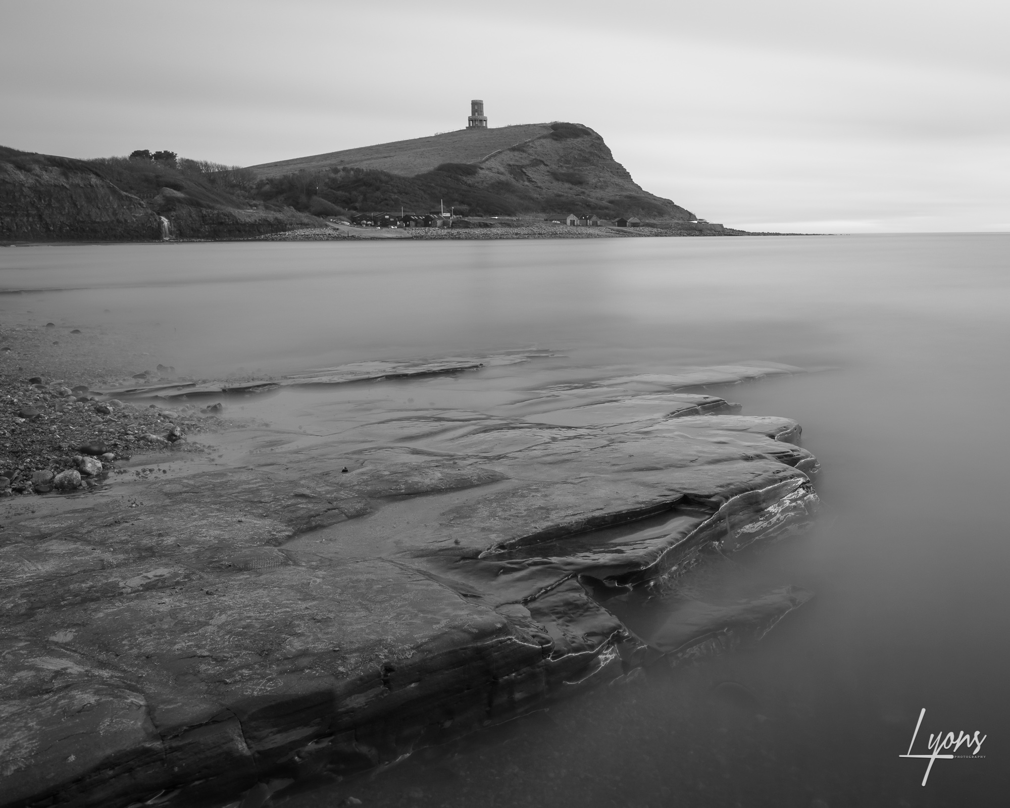Black and white long exposure capture just after sunset