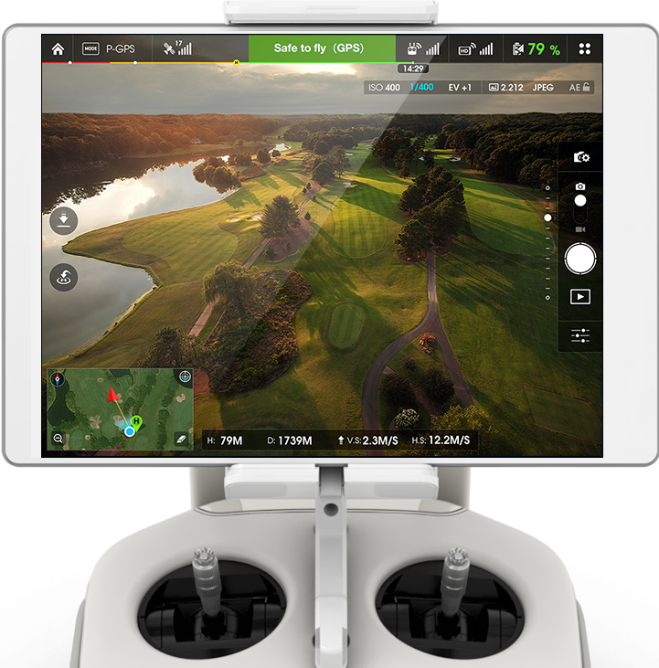 Ipad Mini 4  - Used solely for the purposes of flying the drone our Ipad Mini 4 gives the pilot the live screen with all the relevant data required to maintain a safe flight such as battery levels, GPS position, signal strengths, camera settings, flight modes etc.