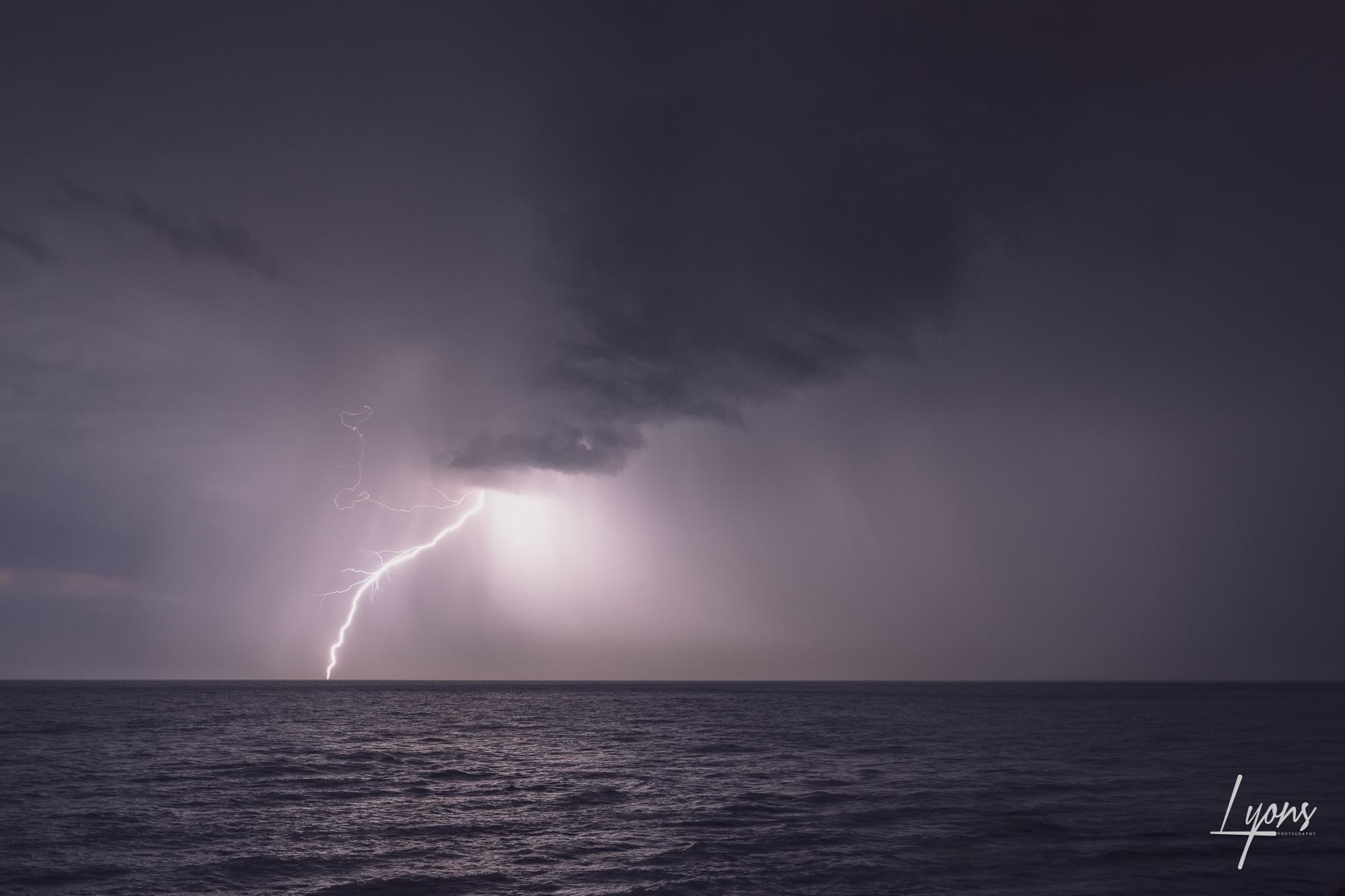 Lightning strike over Durlston Bay