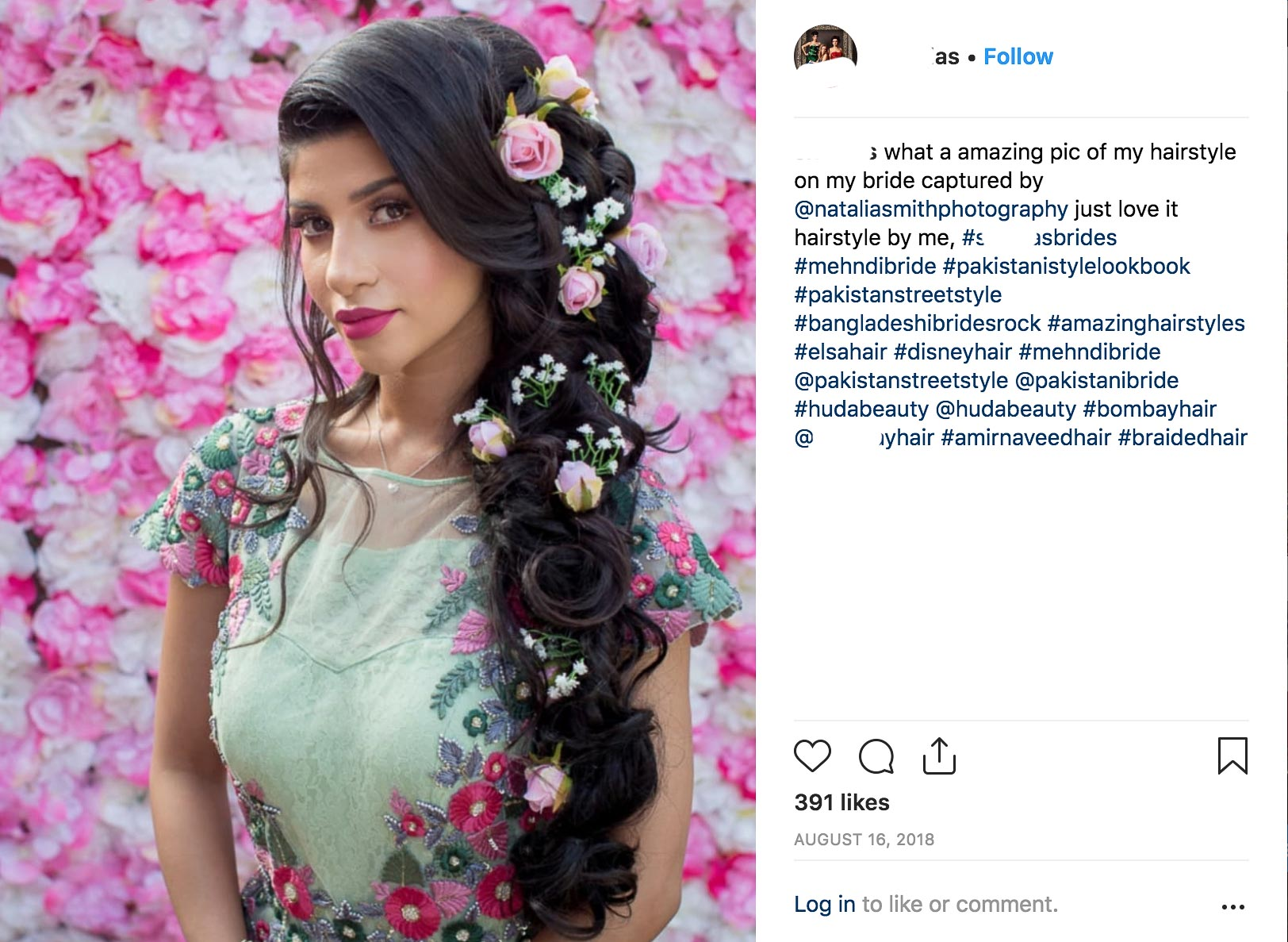 The hair stylist shared the image and tagged the photographer.