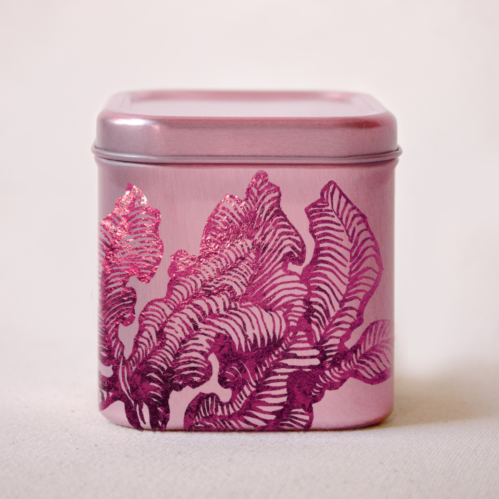 Fairytale-themed magenta metallic package illustration by Laura Dreyer.