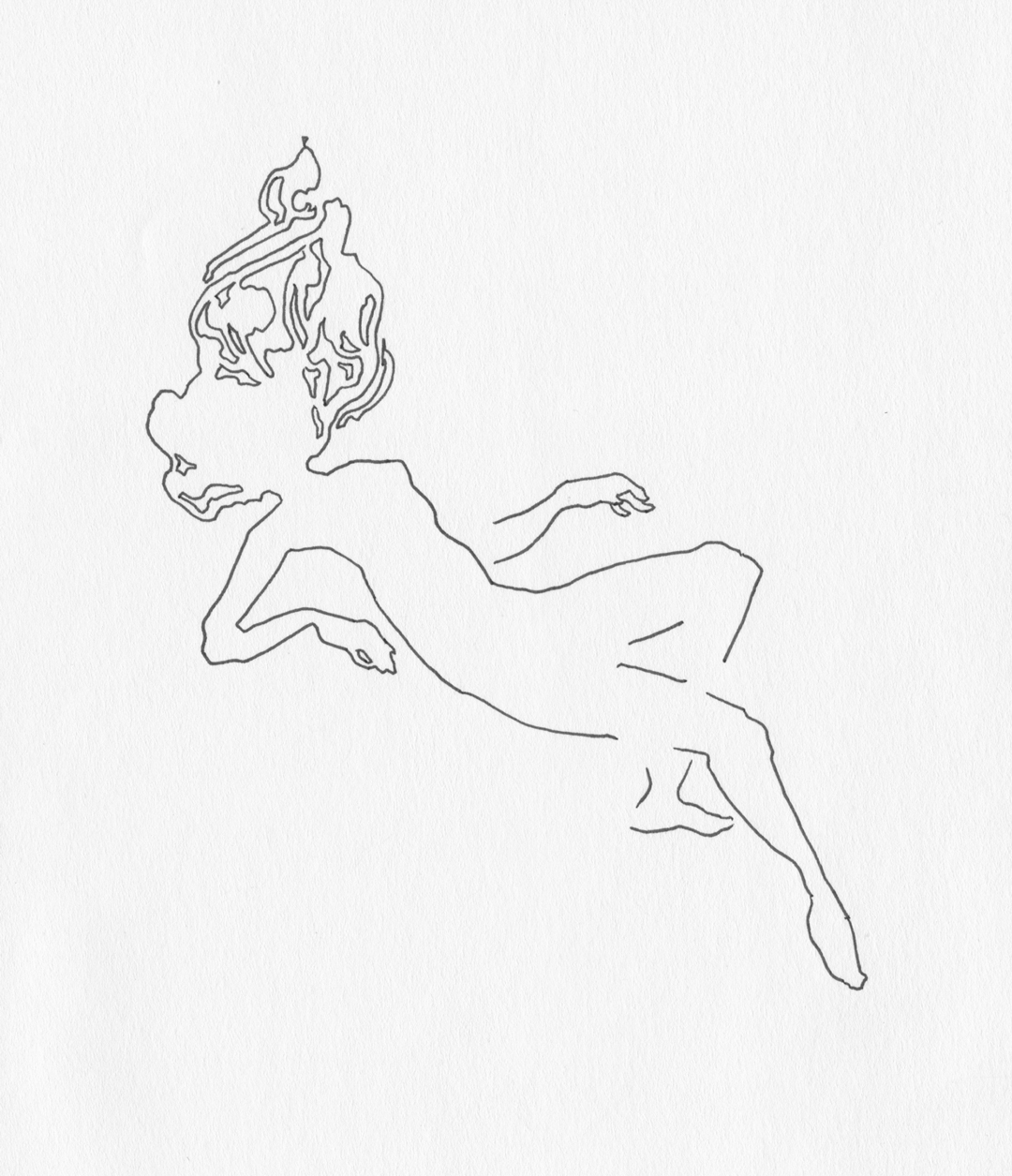 """Falling,"" Art by Laura Dreyer, drawing in pen."