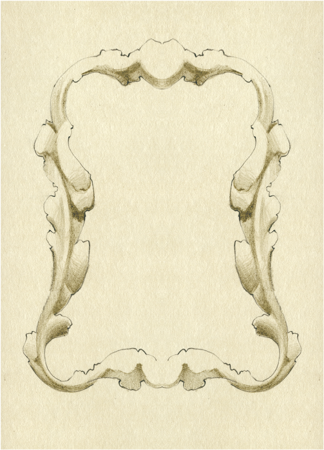 Ornate rococo frame design, drawn by Laura Dreyer