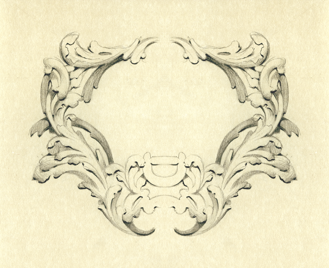 Ornate baroque frame design, drawn by Laura Dreyer