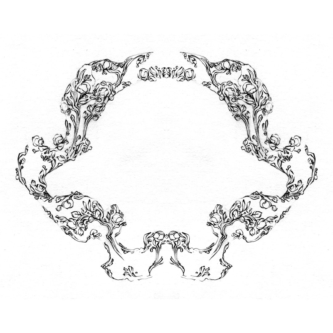 Ornate fairy-tale border design, drawn by Laura Dreyer