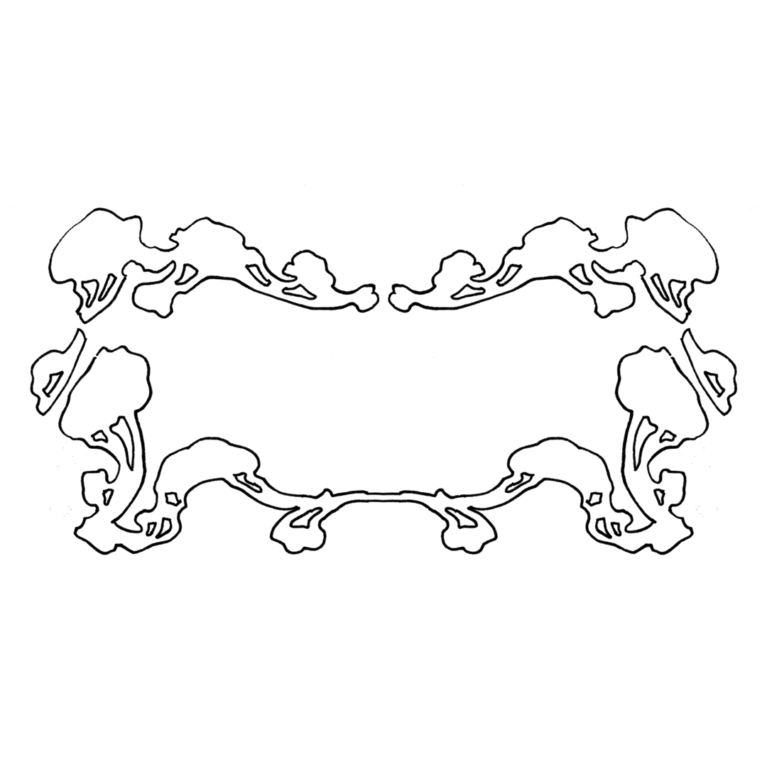 Art Nouveau fairy-tale border design, drawn by Laura Dreyer