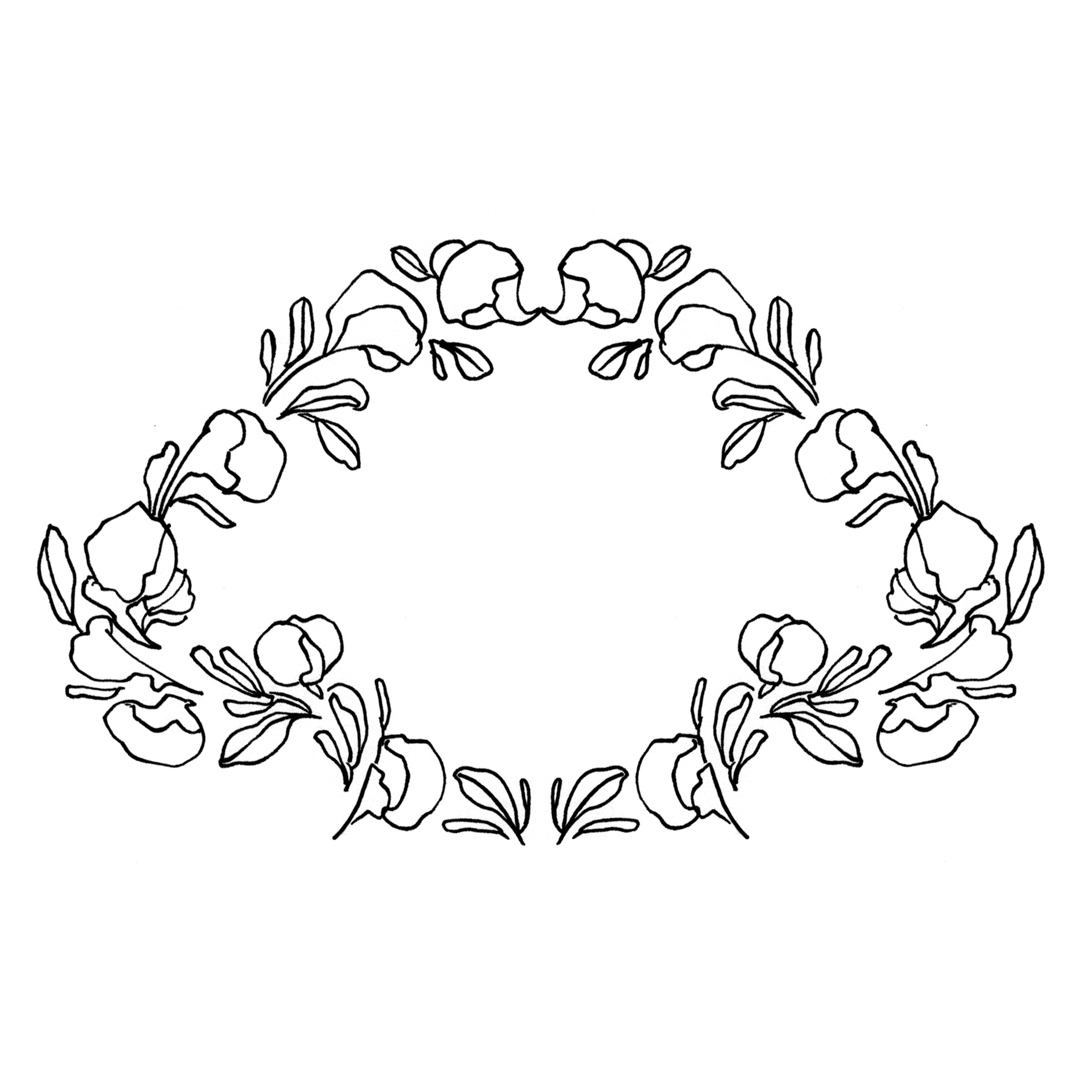 Fairy-tale floral decorative border design, drawn by Laura Dreyer