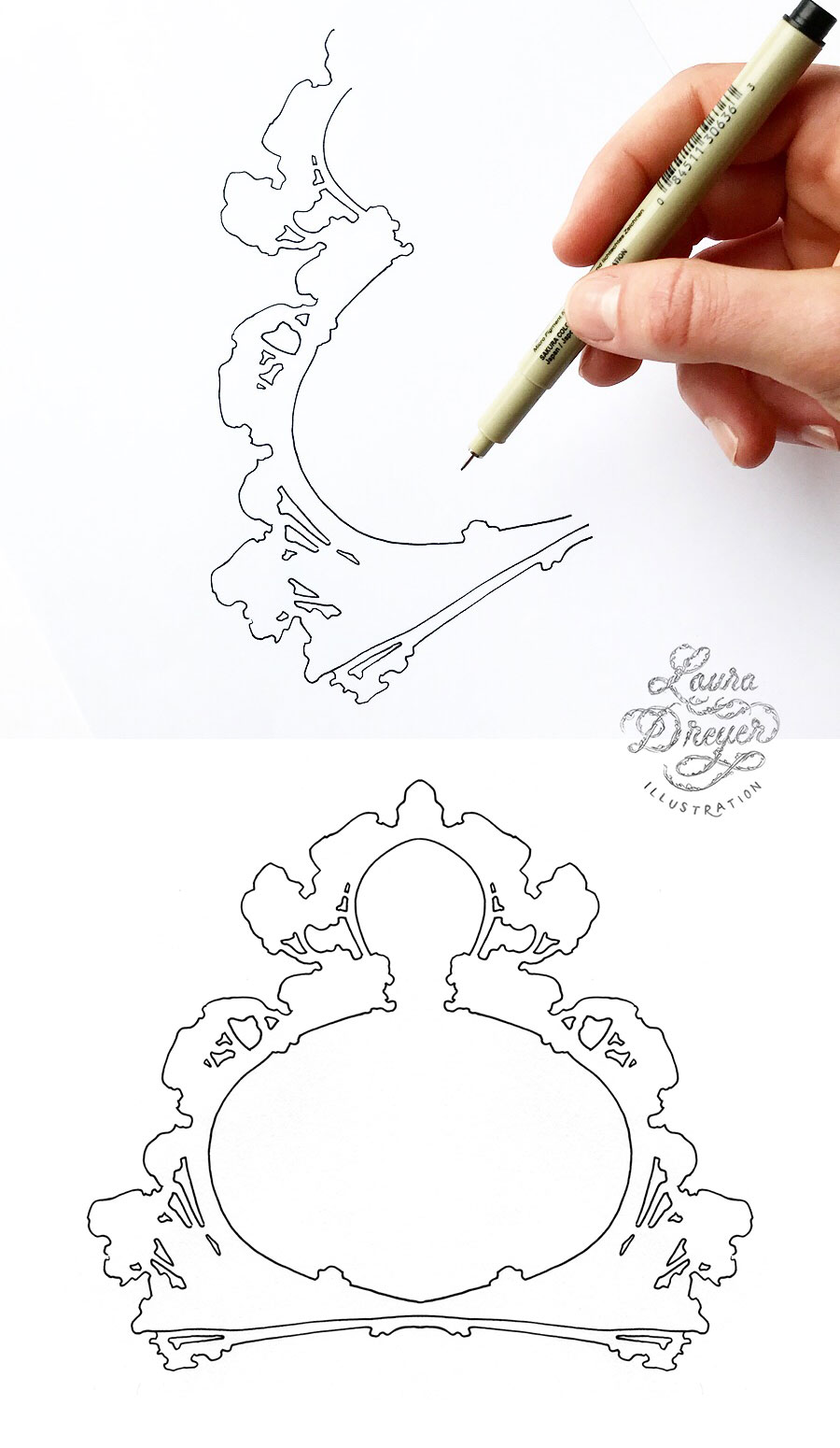 Drawing symmetrical decorative frames by Laura Dreyer.