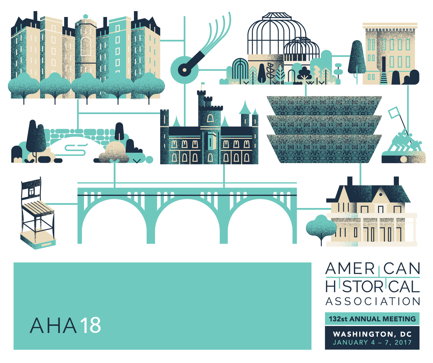 Illustration for Ad Campaign and Conference  Agency:  Eighty2Degrees  | Client: American Historical Association