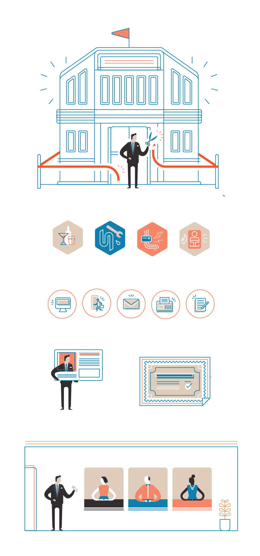 Business and Immigration: Illustrations and Icon Design  Client: Eighty2Degrees