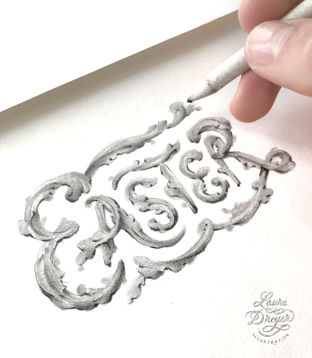 Drawing detail of Laura Dreyer hand-lettering the word easter.