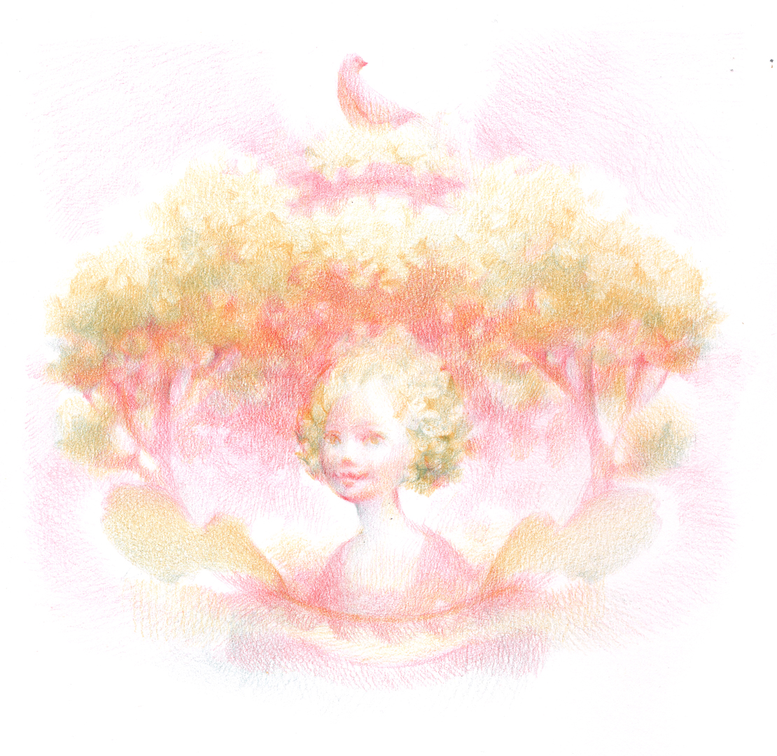 Children's Illustration in colored pencil: Pink Tree Princess