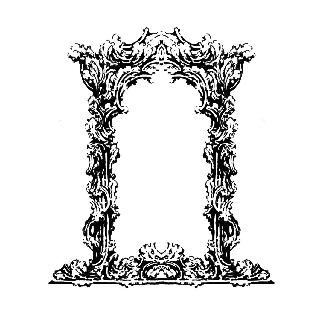 Ornate Rococo-inspired frame illustration, drawing by Laura Dreyer