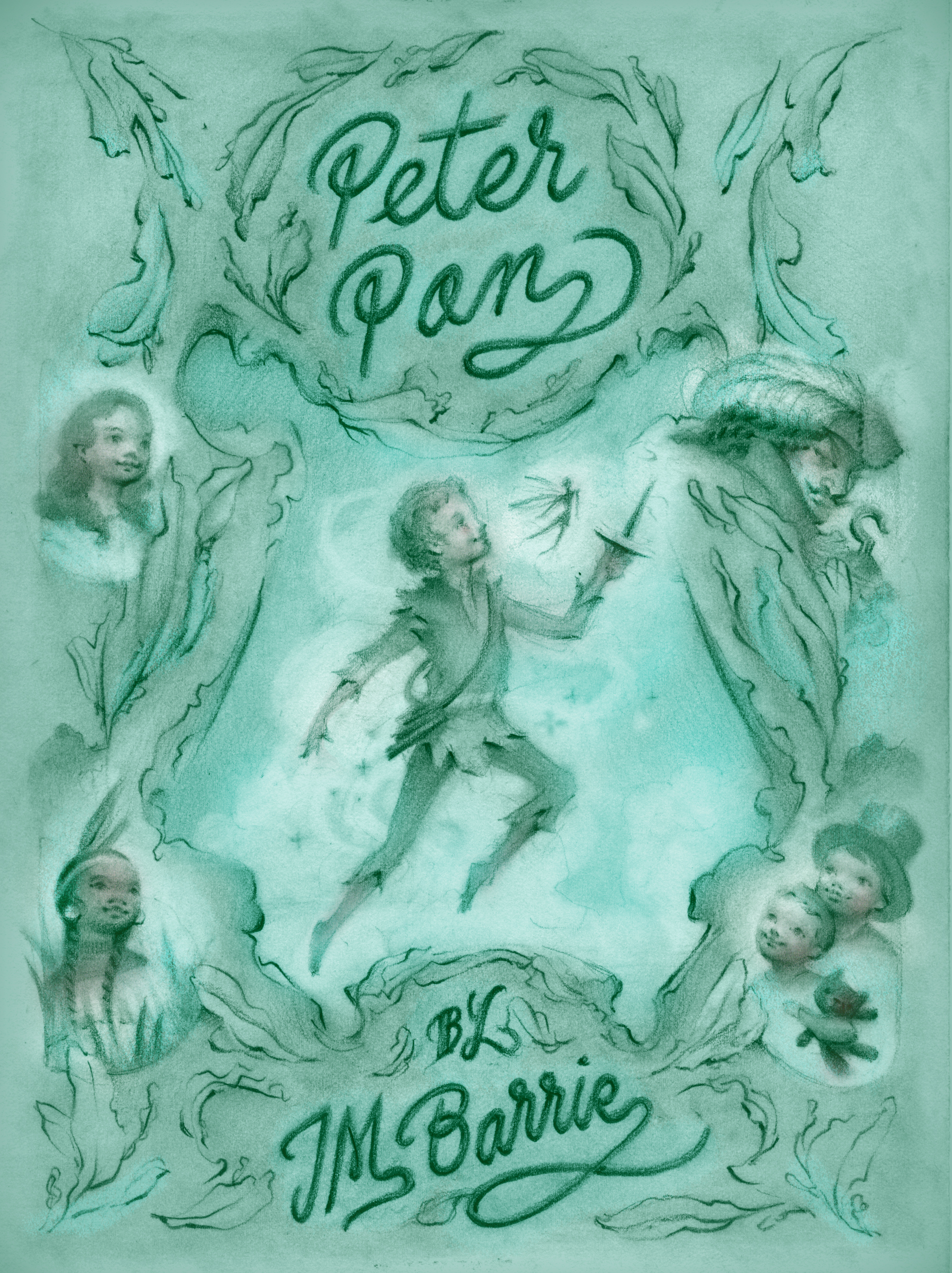 Peter Pan book cover illustration and design by Laura Dreyer.