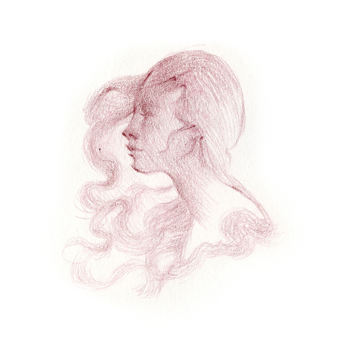 """Dreaming at the Sea."" portrait drawn in pencil by Laura Dreyer."