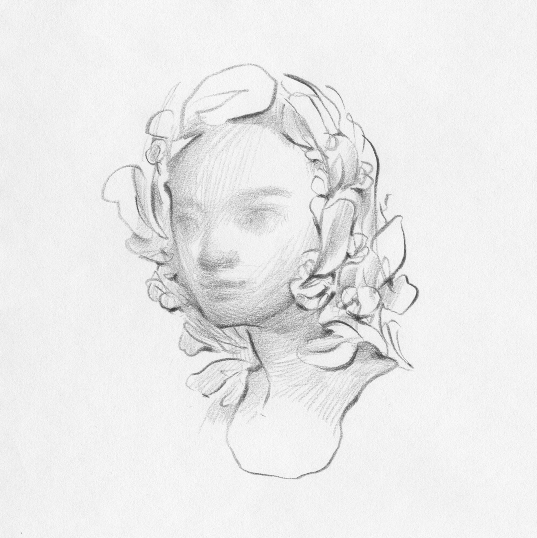 Sketch in pencil of a girl and flower crown by Laura Dreyer