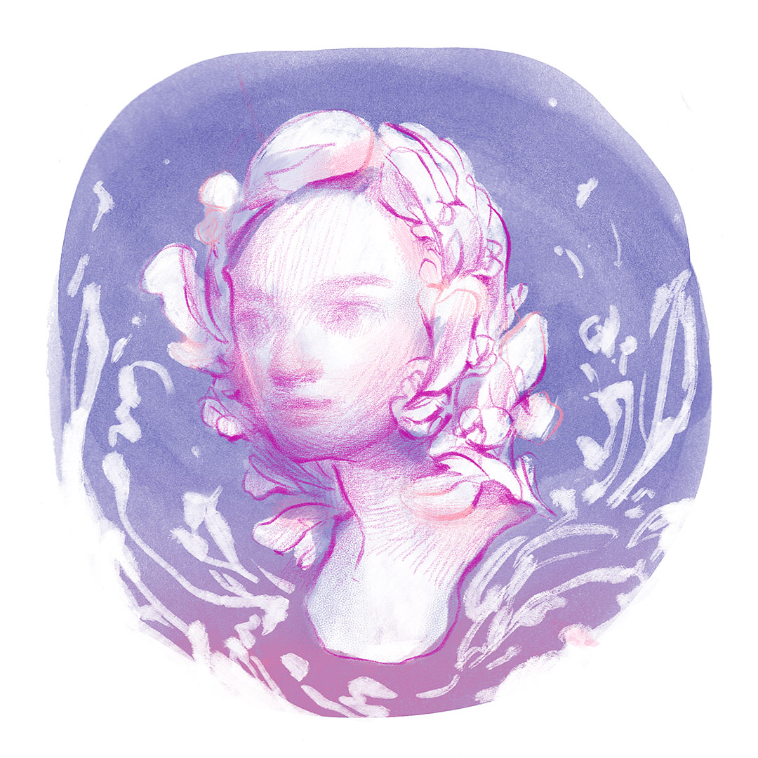 A purple portrait drawing of girl with flower crown